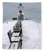 Christmas Lighthouse Fleece Blanket