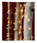Christmas Lights On Birch Branches Fleece Blanket
