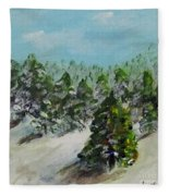 Christmas Mountain Fleece Blanket