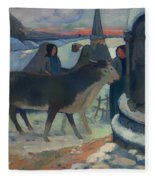 Christmas Night Blessing Of The Oxen Fleece Blanket
