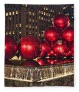 Christmas On 5th Avenue Manhattan 1 Fleece Blanket
