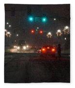 Christmas On The Streets Of Grants Pass Fleece Blanket