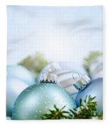 Christmas Ornaments On Blue Fleece Blanket