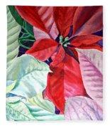Christmas Poinsettia Fleece Blanket
