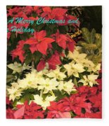 Christmas Poinsettias  Fleece Blanket