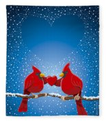 Christmas Red Cardinal Twig Snowing Heart Fleece Blanket