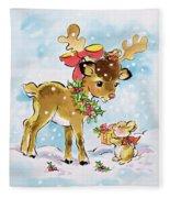 Christmas Reindeer And Rabbit Fleece Blanket