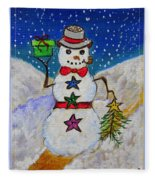 Christmas Snowman With Gifts Of Love Fleece Blanket