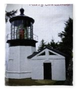 Christmas Time At Cape Meares Lighthouse Fleece Blanket