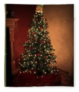 Red And Gold Christmas Tree Without Caption Fleece Blanket