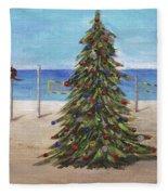 Christmas Tree At The Beach Fleece Blanket
