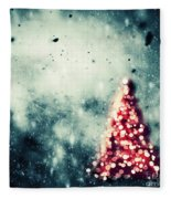 Christmas Tree Glowing On Winter Vintage Background Fleece Blanket