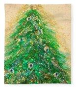 Christmas Tree Gold By Jrr Fleece Blanket