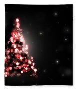 Christmas Tree Shining On Black Background Fleece Blanket