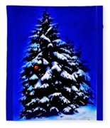 Christmas Tree With Red Ball Fleece Blanket