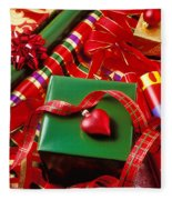 Christmas Wrap With Heart Ornament Fleece Blanket