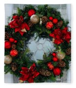 Christmas Wreath Greeting Card Fleece Blanket