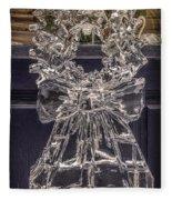 Christmas Wreath Ice Sculpture Fleece Blanket