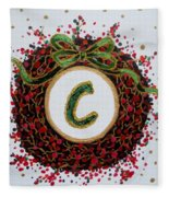 Christmas Wreath Initial C Fleece Blanket