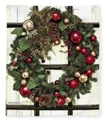 Christmas Wreath On Black Door Fleece Blanket