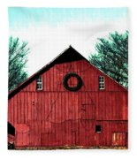 Christmas Wreath On Red Barn Fleece Blanket