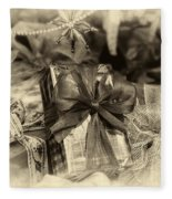 Christmasgift Under The Tree In Sepia Fleece Blanket