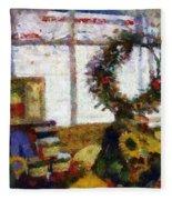 Christmastime Folk Art Fantasia Fleece Blanket