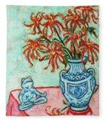 Chrysanthemum And Frog Fleece Blanket