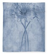 Chrysanthemum Cyanotype Fleece Blanket