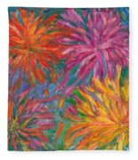 Chrysanthemums Like Fireworks Fleece Blanket