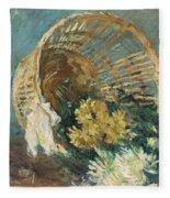 Chrysanthemums Or The Overturned Basket Fleece Blanket