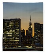 Chrysler And Un Buildings Sunset Fleece Blanket
