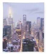 Chrysler Building And Skyscrapers Covered In Snow - New York City Fleece Blanket