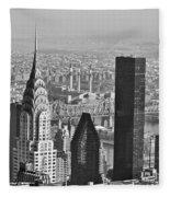Chrysler Building New York Black And White Fleece Blanket