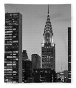 Chrysler Building New York City Bw Fleece Blanket