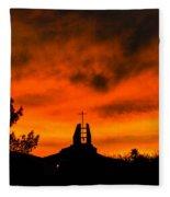 Church Cross Lit By Tucson Sunset Fleece Blanket