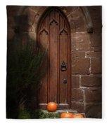 Church Door At Halloween Fleece Blanket