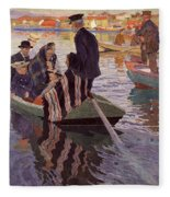 Church-goers In A Boat Fleece Blanket