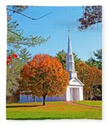 Church In Autumn Fleece Blanket