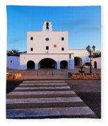 Church In Sant Josep Town On Ibiza Island Fleece Blanket