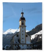 Church In The Austrian Alps Fleece Blanket