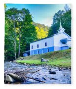 Church In The Mountains By The River Fleece Blanket