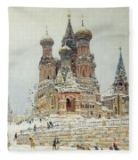 Church Of St. Basil In Moscow Fleece Blanket