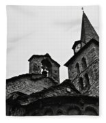 Church Of The Assumption Of Mary In Bossost - Abse And Tower Bw Fleece Blanket