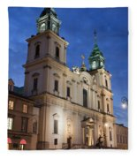 Church Of The Holy Cross At Night In Warsaw Fleece Blanket