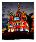Church Of The Savior On Spilled Blood Lantern At Sunset Fleece Blanket