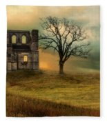 Church Ruin With Stormy Skies Fleece Blanket