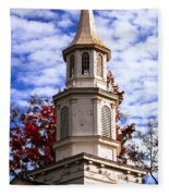 Church Steeple In Autumn Blue Sky Clouds Fine Art Prints As Gift For The Holidays Fleece Blanket