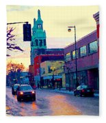 Church Street In Winter Melting Snow Sunset Reflections Montreal Urban City Landscape Scene Cspandau Fleece Blanket