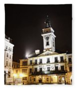 Cieszyn Town Center At Night Fleece Blanket